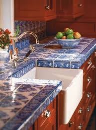 blue chinoiserie tiles to contrast with warm colored furniture