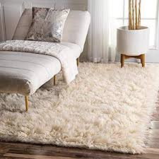 white wool shag rug. Amazon Com NuLOOM Hand Woven Alexa Flokati Natural Wool Shag Rug 6 Pertaining To Rugs Decor 14 White N