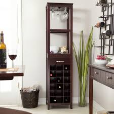 wine rack dining table. Wine And Glass Holder Tower Cabinet Made From Dark Cherry Wood Plus Drawer Storage Shelf On White Tile Flooring Rack Dining Table