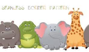 Vector Seamless Border Pattern With Elephant, Giraffe, Crocodile ...