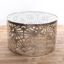 gin shu round silver gilt leaf metal coffee table
