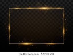 black and gold frame png. Beautiful Png Vector Golden Frame With Lights Effects Shining Rectangle Banner Isolated  On Black Transparent Background On Black And Gold Frame Png I