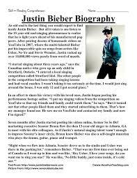 Reading Comprehension Worksheet - Justin Bieber Biography