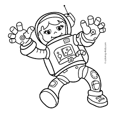 Small Picture Spaceman Girl In The Space Coloring Pages For Kids Printable Free