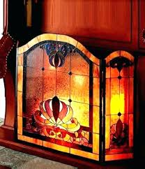 stained glass fireplace screens stained glass dale anemone 3 panel fireplace screen nib beveled stained glass