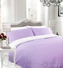 lilac white polka dot reversible duvet cover