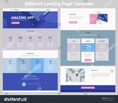 Material Design Website Template Material Design Responsive Landing Page One Stock Vector