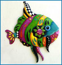painted metal tropical fish wall art island decor