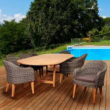 Amazonia fender 9 piece teak wicker double extendable oval patio dining set with brown
