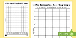 Celsius Temp Chart Five Day Temperature Recording Celsius Worksheet Worksheet