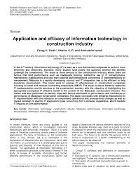 application and efficacy of information technology in construction application and efficacy of information technology in construction industry pdf available