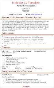 Ecologist Cv Template Tips And Download Cv Plaza