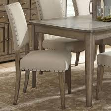 Nailhead dining chairs dining room Gray Upholstered Side Chair Johnny Janosik Liberty Furniture Weatherford Rustic Casual Upholstered Side Chair