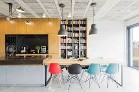 Interior In An Industrial Style With An Open Kitchen Dining Stock