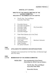 1 AGENDA ITEM NO. 2 BRISTOL CITY COUNCIL MINUTES OF THE ANNUAL MEETING OF  THE DOWNS COMMITTEE HELD ON 19 NOVEMBER 2012 AT 4.00 P