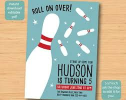 Bowling Party Invitation Bowling Invitations Etsy