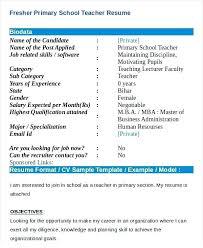 Resume For Primary Teachers Resume Templates For Teachers Resume
