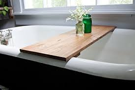 Red Oak Wood Bathtub Tray  Honey Caddy Wooden Clawfoot Standard Bath Tub  Shelf Computer Desk