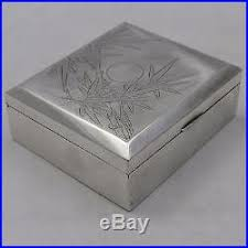 Decorating Cigar Boxes ANTIQUE CHINESE EXPORT SILVER CIGARETTE CIGAR BOX c100100 62