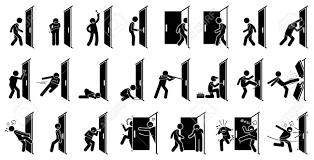 男はドアのピクトグラムクリップアートにはドアと人のさまざまなアクションが描かれています
