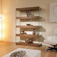 Living Room Cabinets And Shelves Display Cabinet Shelving Unit Shelves Walnut Glass Modern