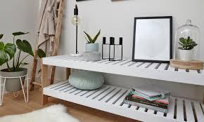 diy slatted shelf unit in living room