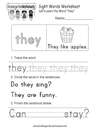 Kindergarten Free Printable Sight Word They Worksheet For