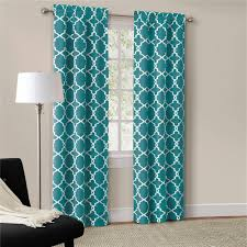 Teal Bedroom Curtains Details About Set Of 2 Modern Trendy Interlock Geometric Curtains