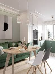 elegant scandinavian style home with green decor