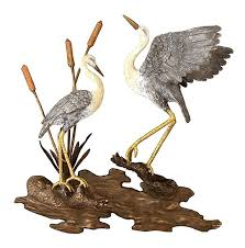 heron metal wall art bronze cranes wall plaque great blue heron metal wall art