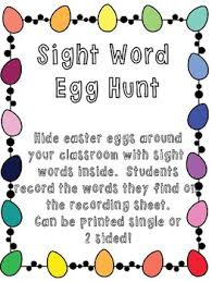 word easter egg sight word easter egg hunt recording sheet by kindermorey tpt
