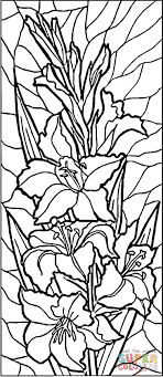 Stained Glass Lilies Coloring Page From