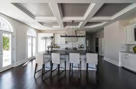kitchen ceiling paintGrey Coffered Kitchen Ceiling  Transitional  Kitchen