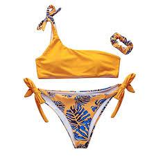 Bathing Suit Top Size Chart Amazon Com Women Bathing Suit Floral Printed One Shoulder