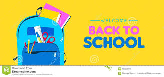 Welcome Back To School Web Banner Of Kid Backpack Stock