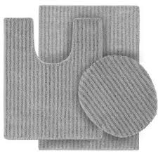 sheridan platinum gray 21 in x 34 in washable bathroom 3 piece rug