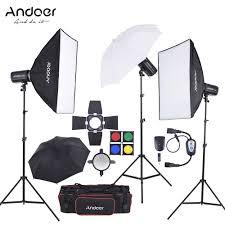 andoer md 250 750w 250w 3 studio strobe flash light kit with light stand softbox lambency unbrella barn door flash trigger carrying bag for
