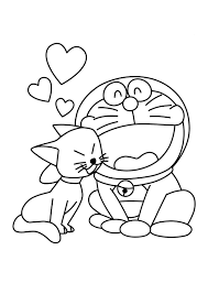 Doraemon in Love Coloring Page | Boys pages of KidsColoringPage ...