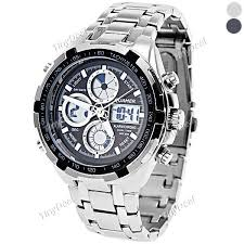 quamer fashion analog digital watch wristwatch round case for quamer fashion analog digital watch wristwatch round case stainless steel band for men