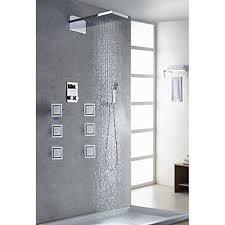 contemporary shower heads. Contemporary Chrome Finish Thermostatic LED Digital Display Shower Faucet (Shower Head \u0026 Hand Shower) Heads Faucetsuperdeal.com