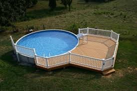Wooden Pool Decks Wooden Pool Deck With Seating Area For Large Above Ground Backyard