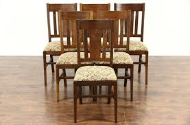 set of 6 antique craftsman 1910 mission oak arts crafts dining chairs