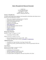 ... Salon Receptionist Resume example with summary of qualification ...