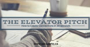 30 Sec Elevator Speech The Elevator Pitch Sara Curto
