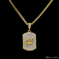 whole mens hip hop gold plated 100 iced out cz crystal dog tag pendant necklace with 30 box chain necklace men women fashion jewelry gold