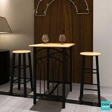 CASASMART - Ensemble table haute de bar acier et bois + 2 chaises ...