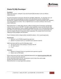 Pl Sql Developer Resume Resume Cover Letter Template