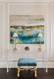 turquoise blue and gold abstract canvas art with lucite console table on transitional canvas wall art with turquoise blue and gold abstract canvas art with lucite console