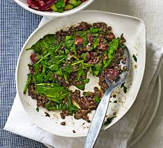 puy lentils with spinach sour cherries