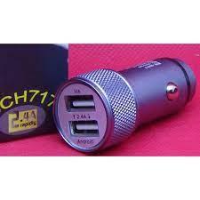 Adapter Đầu sạc ô tô kép 2 cổng usb 5V-2.4A hỗ trợ sạc nhanh tích hợp đèn  Led Hàng nhập khẩu - Adapter sạc - Củ sạc xe hơi Nhãn hàng OEM